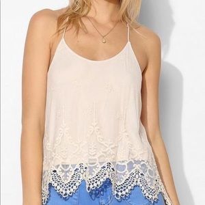 Pins & Needles embroidered T- Strap Top SZ S
